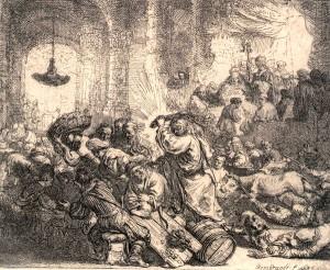 REMBRANDT. L'expulsió dels mercaders del temple. 1635. Museu Diocesà de Barcelona
