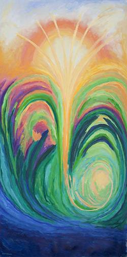 ©Miriam Subirana. La llum al dansar entre dos oli sobre tela 200 x 100 cm