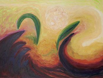 ©Miriam Subirana. Lucha y danza asoman las sombras. Oli s tela 97 x 130 cm