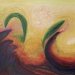 ©Miriam Subirana. Lucha y danza asoman las sombras. Oli sobre tela 97 x 130 cm