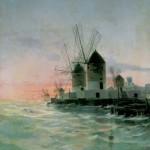 ELISEU MEIFRÈN I ROIG. Molins de vent al costat del mar, 1887. Oli sobre tela. Col·lecció Carmen Thyssen