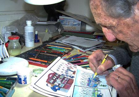 Joan Combalia dibuixant l'auca. Fotografia: Zoila de Montagut Combalia