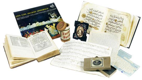 Mostra de tipus de materials conservats a la BC ©Biblioteca de Catalunya