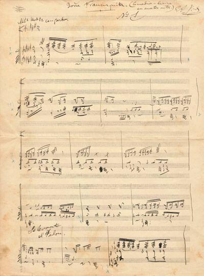 Esborrany de la sarsuela Doña Francisquita. Data: 1923. CEDOC