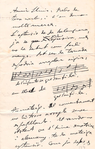 Carta d'Amadeu Vives adreçada a Lluís Millet i Pagès. Data: 1926. CEDOC