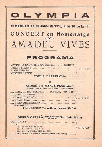 Programa de concert en homenatge a Amadeu Vives . Data: 14 juliol de 1926. CEDOC