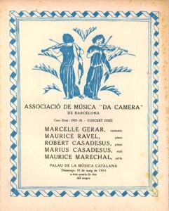 Programa de mà de l'any 1924 amb l'actuació  de Maurice Ravel al piano