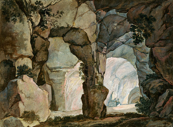 Fig. 2 a and b exemplify a naturalistic representation of the underworld: Giovanni Paolo Gaspari, Entrance to the underworld and river Cocytus for a performance of Glucks Orfeo ed Euridice in Munich in 1773, water colour, Staatliche Graphische Sammlung München, 30593 Z und 30594 Z.