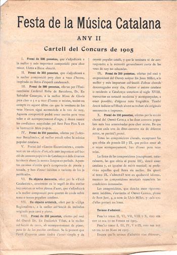 Cartell dels premis oferts en la 2a celebració de la Festa de la Música Catalana. 1905. CEDOC