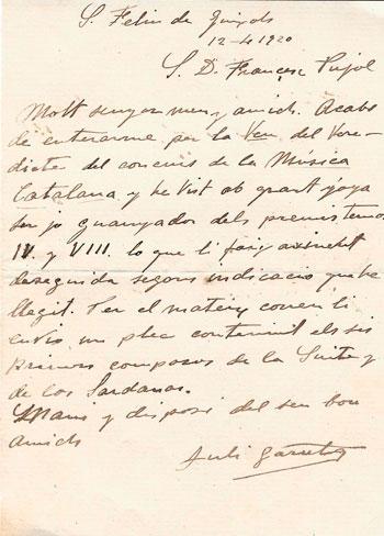 Carta de Juli Garreta adreçada a Francesc Pujol on li comenta que ha estat   guanyador de dos dels premis del concurs de l'any 1920. 12 d'abril de 1920. CEDOC