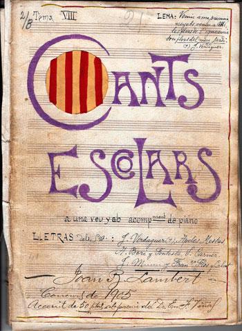 Cants escolars. Cançons a una veu amb acompanyament de piano Joan Baptista Lambert. 1905. CEDOC