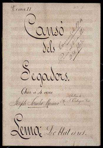 Cançó dels segadors. Música per a cor a 4 veus mixtes. Josep Sancho Marraco. 1904. CEDOC
