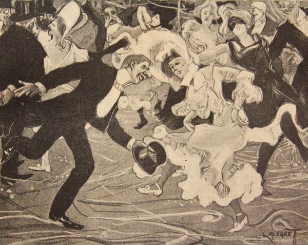 """""""L'últim figurí de la dansa"""". """"El Cake Walk"""" Font: ALEGRET. La Esquella de la Torratxa. [Barcelona] (5-02-1904), núm. 1309, p. 81"""